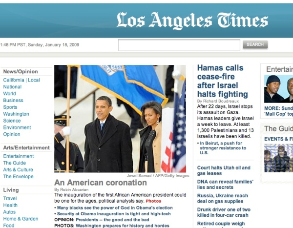 Los Angeles Times Web Page Sunday 1/18/09