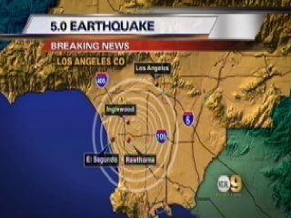5.0 Earthquake, Los Angeles at 20:39:36