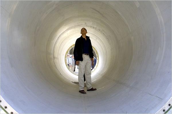 Senator Barack Obama inside a deactivated Russian nuclear missile, 2005