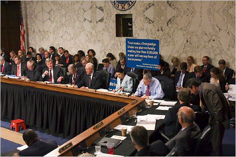 The Senate Finance Committee's hearing on health care legislation. Harry Hamburg/Associated Press