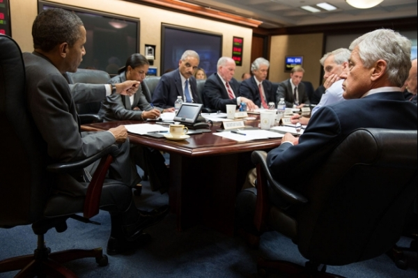 President Obama in the Situation Room of the White House, July 3, 2013